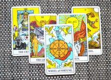 Wheel of Fortune Tarot Card Growth Abundance Good omen. Wheel of Fortune Tarot Card brings Growth Abundance Good omen and positive changes royalty free stock image