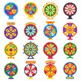 Wheel of fortune. Turning lucky spin game wheels, spinning money roulette isolated flat vector set royalty free illustration