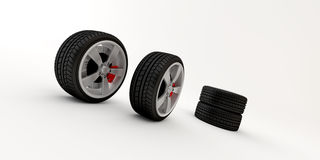 Wheel for free. Some wheel of a luxus car, with a red brake Royalty Free Stock Photo