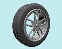 Wheel. Front view, on blue background, created in 3d Studio Max Stock Images
