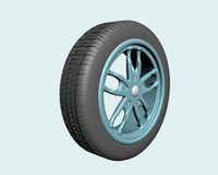 Wheel. Front view, on light blue background, created in 3d Studio Max Stock Photography