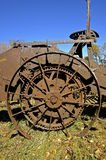 Wheel and gear of a potato harvester Stock Photography