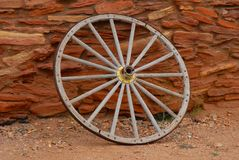 Wheel at Grand Canyon Museum. Wheel outside Grand Canyon Musem royalty free stock photos