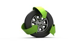 Wheel with green arrows Royalty Free Stock Photos