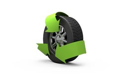 Wheel with green arrows Stock Photo