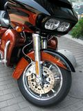 Wheel and headlights, Harley Davidson Stock Photography