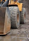 Wheel of heavy digger Stock Photos