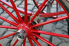 Wheel of horse carriage with automobile disc brake Stock Photo