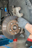 Wheel hub and brake Stock Images