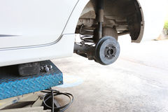Wheel hub of a car in repair of the damage. Royalty Free Stock Image