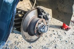 The wheel hub of the car.Replacing the wheel on the car.Car repair. The wheel hub of the car.Replacing the wheel on the car.Car repair Royalty Free Stock Photography