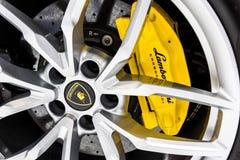 Wheel of Lamborghini Stock Photography