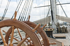 Wheel of large sailing ship Stock Image