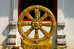 The Wheel of the Law. The sign of Buddha, Generality in Thailand , any kind of art decorated t in Buddhist Church , temple pavilion , temple hall , monk's Stock Photos