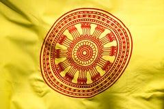 Wheel of life or Dharmachakra, Wheel of Dhamma flag Stock Photos