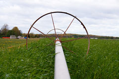 Wheel line irrigation. System in a field Stock Photo