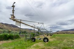 Wheel line irrigators machine royalty free stock image