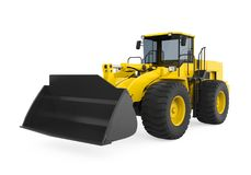 Wheel Loader Bulldozer Isolated. On white background. 3D render Royalty Free Stock Photo