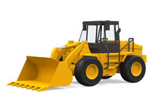 Wheel Loader Bulldozer. On white background. 3D render Stock Image