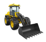 Wheel Loader Bulldozer. On white background. 3D render Royalty Free Stock Image