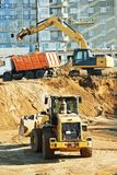 Wheel loader excavator and tipper dumper Stock Photos