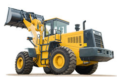 Wheel loader excavator on white background Stock Photo