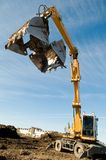 Wheel loader excavator at work Stock Photo