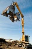 Wheel loader excavator at work stock photo