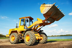 Wheel loader excavator at work Stock Photos