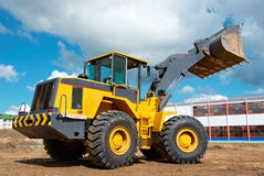 Wheel loader excavator at work Stock Image