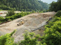 Wheel loader in a gravel pit Stock Photos