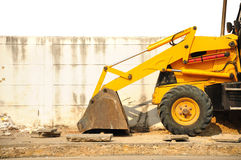 Wheel loader machine  on the road Royalty Free Stock Image