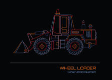 Wheel Loader neon outline Royalty Free Stock Photos