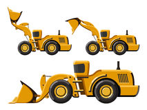 Wheel loader set. Classic wheel loader set. Flat style icon. Isolated vector illustration without gradients Royalty Free Stock Photography