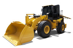 Wheel loader with a steel shovel Stock Photos