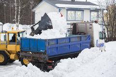 Wheel loader unloading snow Royalty Free Stock Image