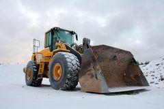 Wheel Loader at Winter Sand Pit Stock Image