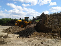 Wheel loader working in a composting facility. Wheel loader working on a pile of dried sewage sludge during a sunny day Stock Images