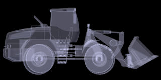 Wheel loader. X-ray render Stock Image