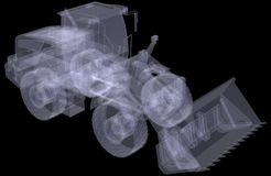 Wheel loader. X-ray render Royalty Free Stock Photography