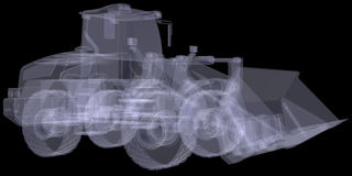 Wheel loader. X-ray render Royalty Free Stock Images