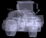 Wheel loader. X-ray render Royalty Free Stock Photo