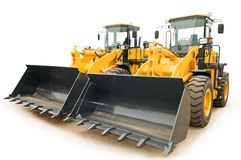 Wheel loaders excavators isolated Royalty Free Stock Photo