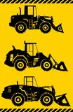 Wheel loaders. Heavy construction machine. Vector Stock Image