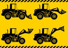 Wheel loaders. Heavy construction machine. Vector Stock Images