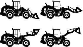 Wheel loaders. Heavy construction machine. Vector Stock Photos