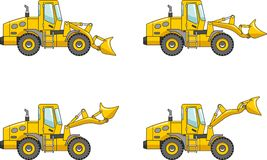 Wheel loaders. Heavy construction machine. Vector illustration Royalty Free Stock Photography