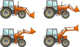 Wheel loaders. Heavy construction machine. Vector illustration Royalty Free Stock Images