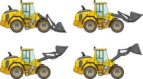 Wheel loaders. Heavy construction machines. Vector illustration Stock Photo