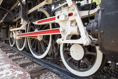 Wheel of locomotive on railway Stock Photo
